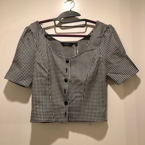 & other stories gingham crop blouse